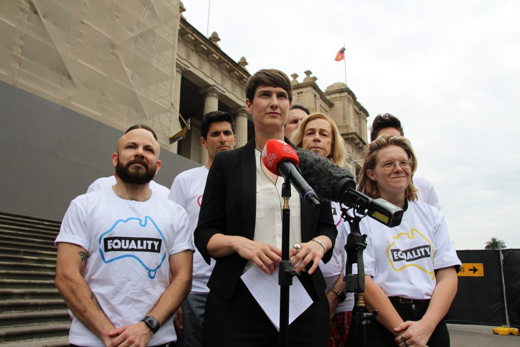 CEO Anna Brown launching Equality Australia with the rest of the team in behind her