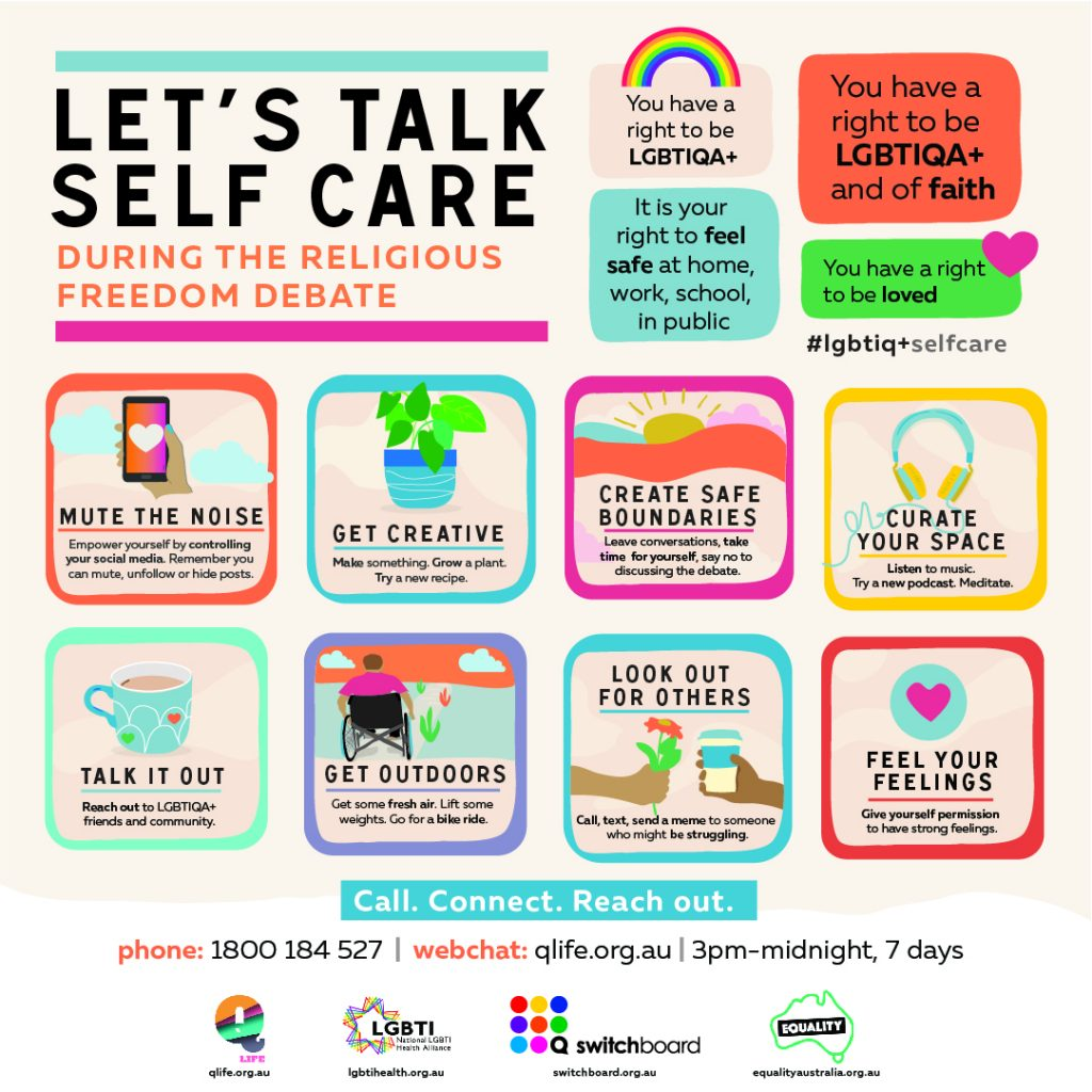 Infographic for self care during religious freedom debate